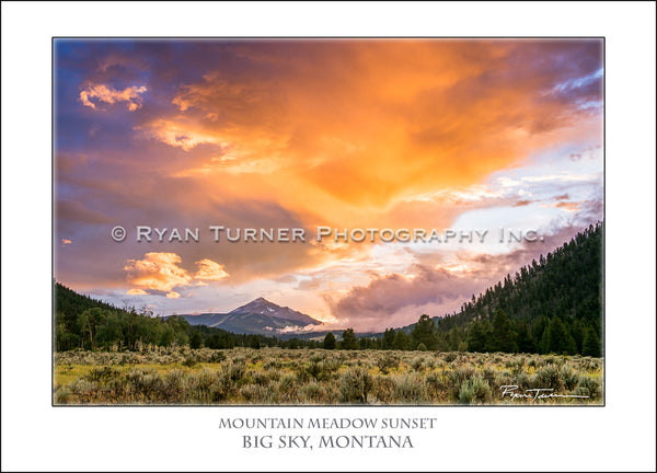 Mountain Meadow Sunset - Notecard