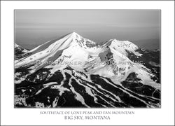 Ryan Turner Photography of the South Face and Ski Runs of Lone Peak Mountain in Big Sky, Montana for purchase at www.ryanturnerphoto.com.