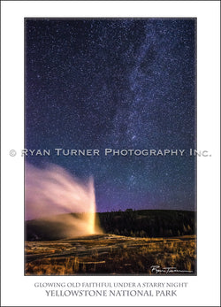 Glowing Old Faithful Under a Starry Night - Notecard