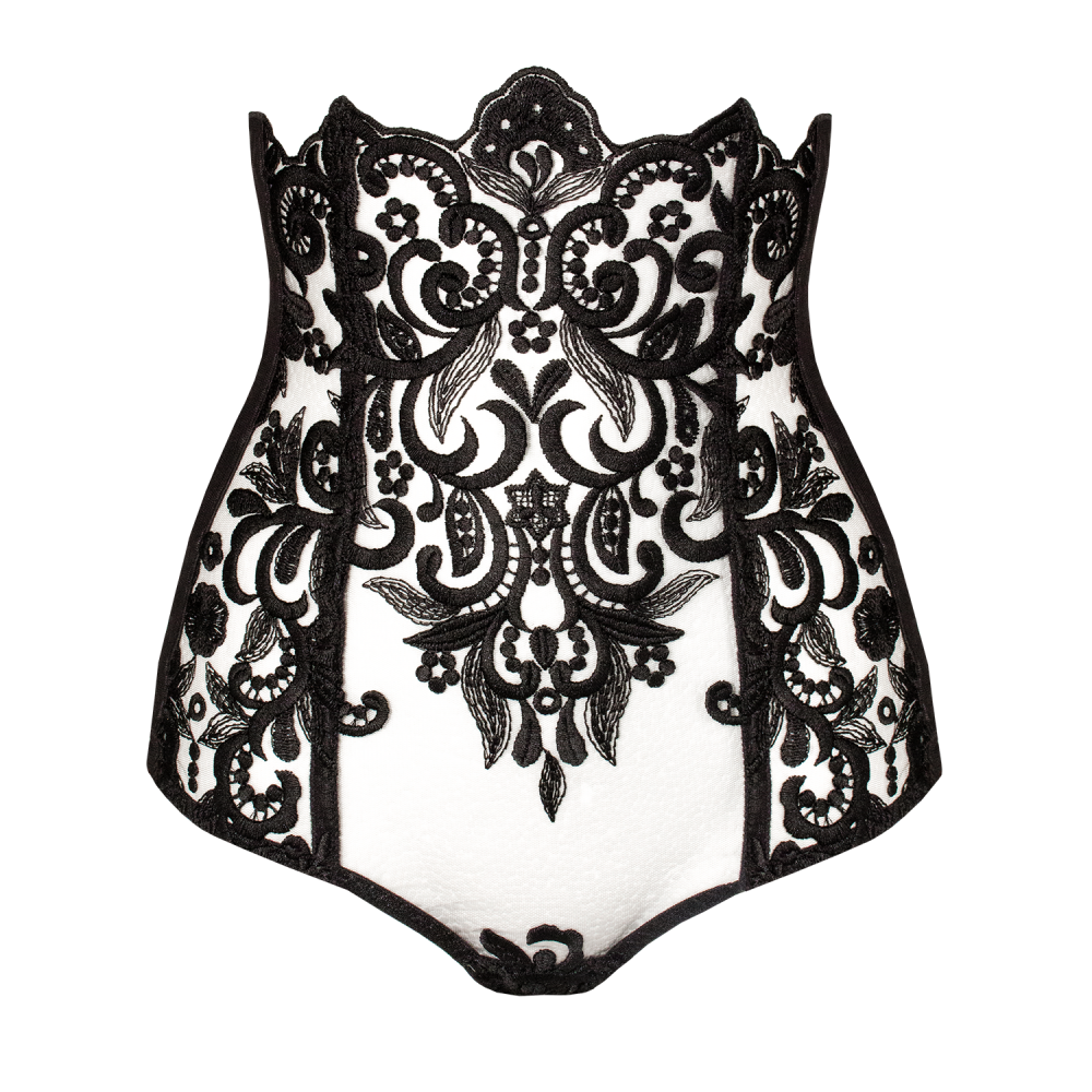 Designer high waisted corset panties, Keosme, lace, exclusive, black, dark, embroidered mesh, corset lacing, extra high rise, brazilian cut panties, cutout on the back, underlines the waist line, the waist is adjustable, lacing on the sides