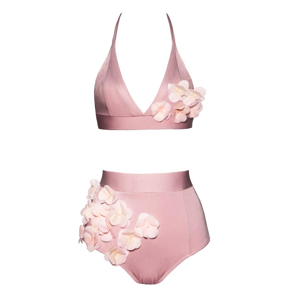 Designer bikini, exclusive, unusual, high waisted, pink, dusty pink, with flowers, ruched, with beads, Keosme, silicone flowers, adjustable waist, cutout on the back, wide belt, wide elastic band, underlines the waist, gentle, romantic, luxurious, original