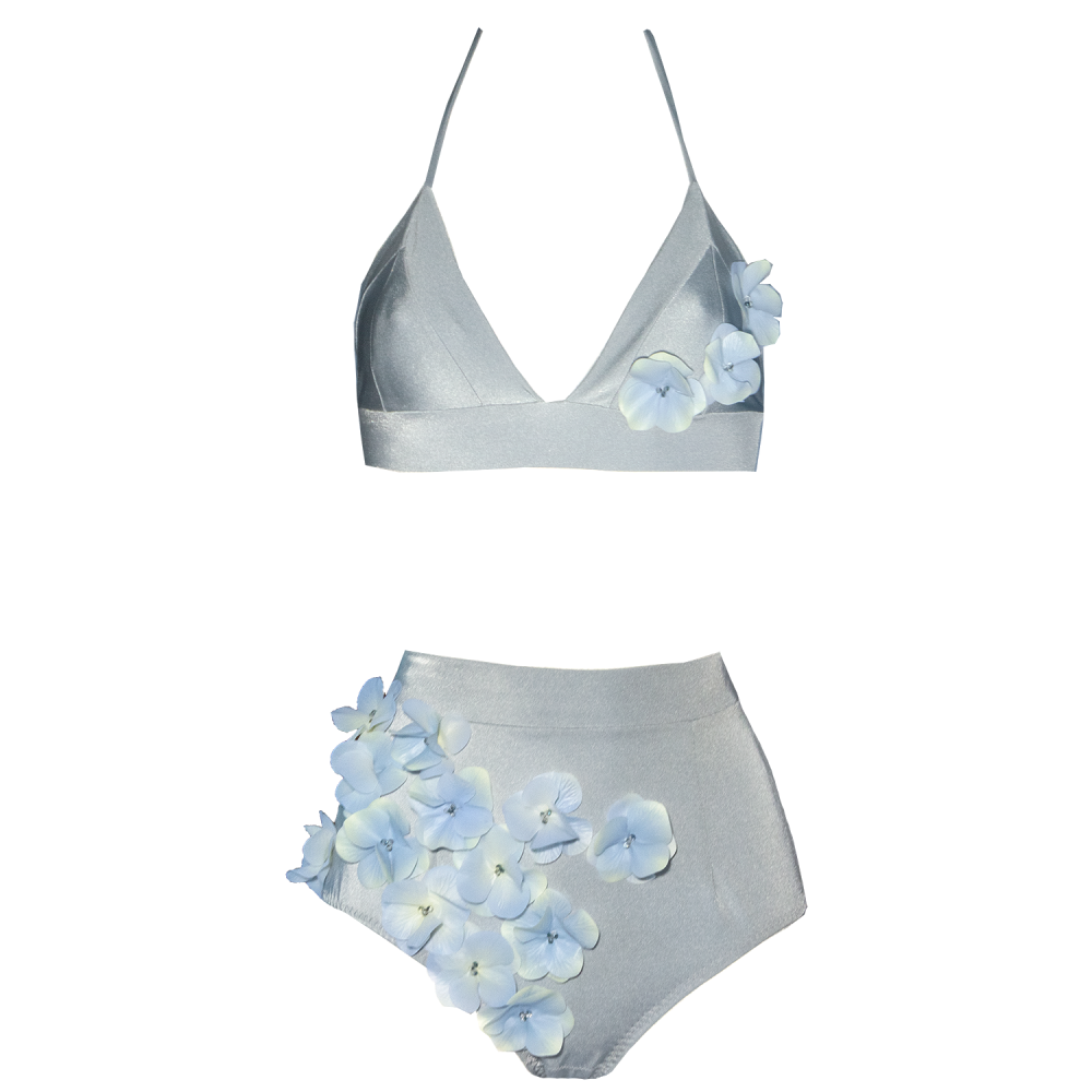 Designer bikini, exclusive, unusual, high waisted, silver, gray, blue, with flowers, frill, with beads, Keosme, silicone flowers, adjustable waist, cutout on the back, wide belt, wide elastic band, underlines the waist, gentle, romantic, luxurious, original