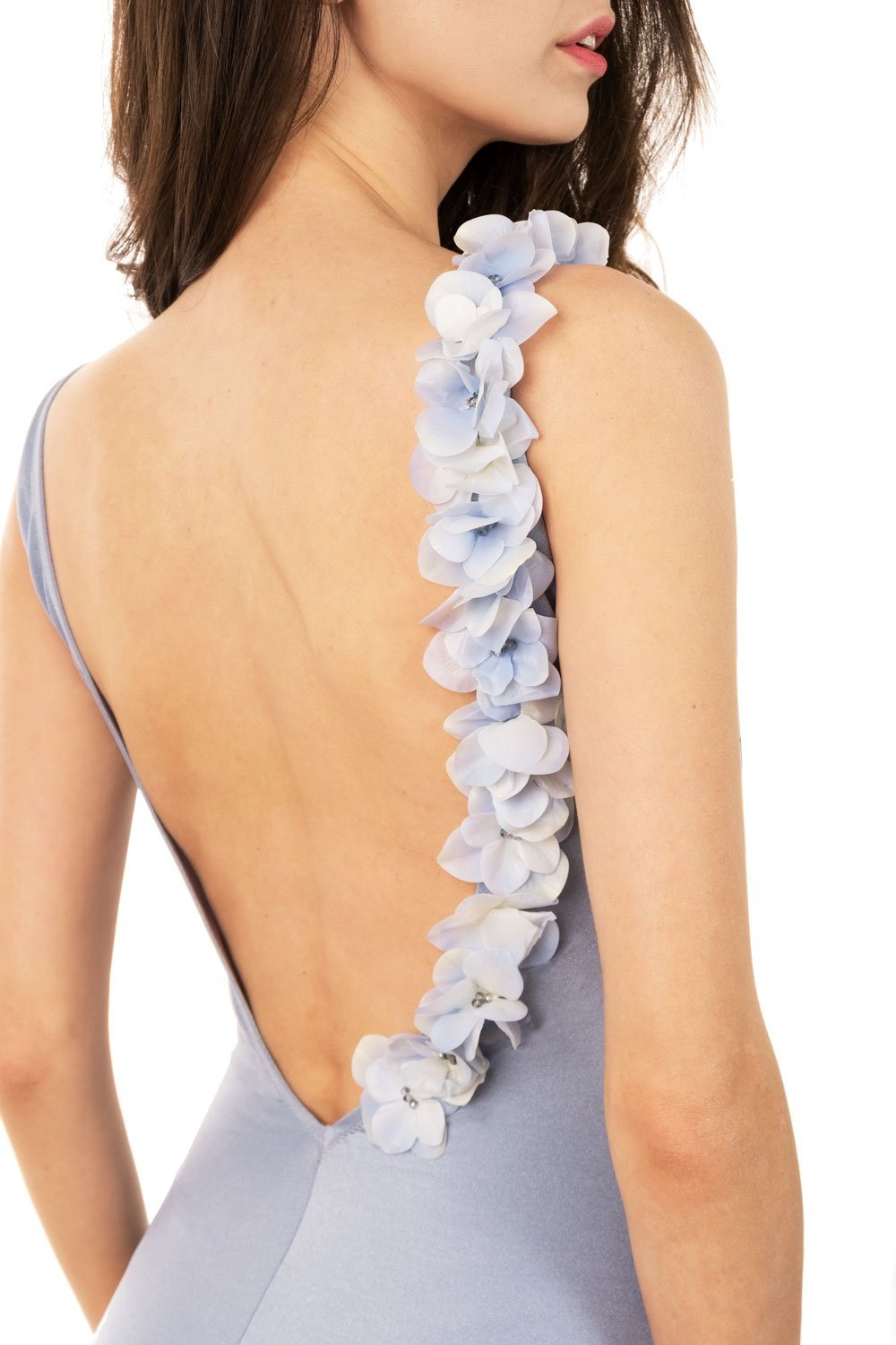 Designer swimsuit, one-piece, silver, gray, blue, with flowers, with beads, piecework, shiny, deep cut on back, Keosme, don't push through shoulders, a swimsuit with flowers, one-piece, tank, monokini, non-foam, unpadded cups, wide straps, gentle, minimalistic, luxurious, refined, unique, elegant