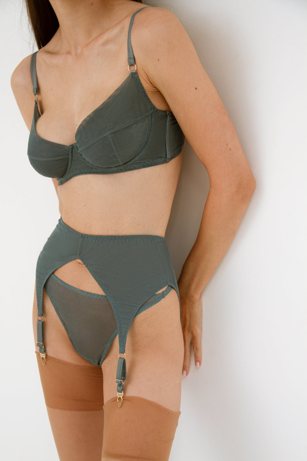 Diametra Bluestone high-waisted thongs