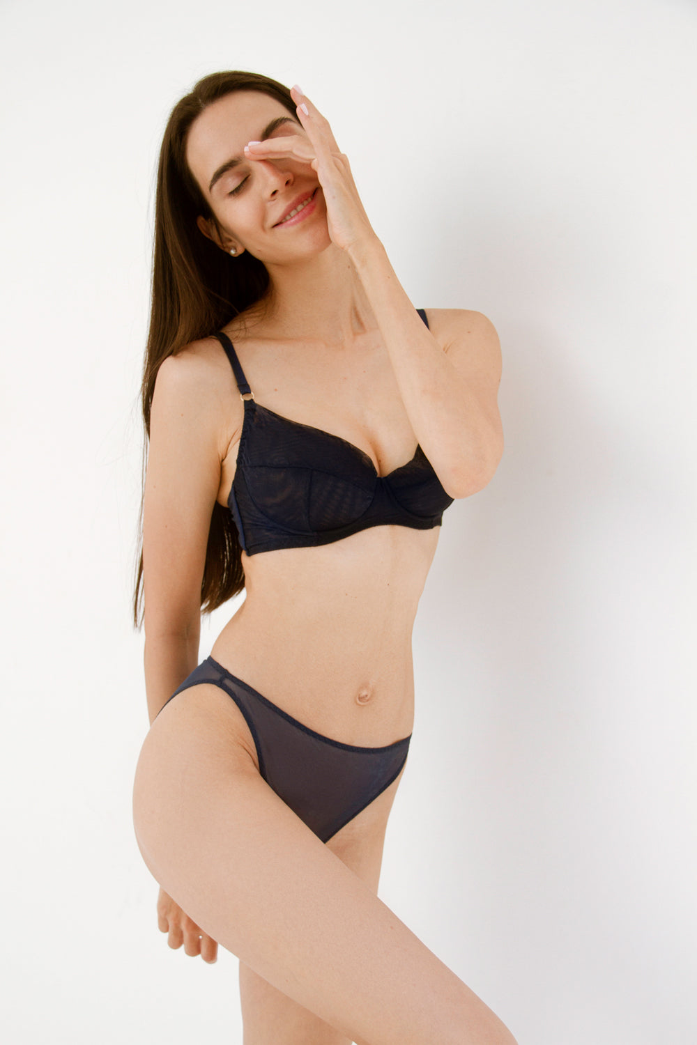 Diametra Navy high-waisted panties