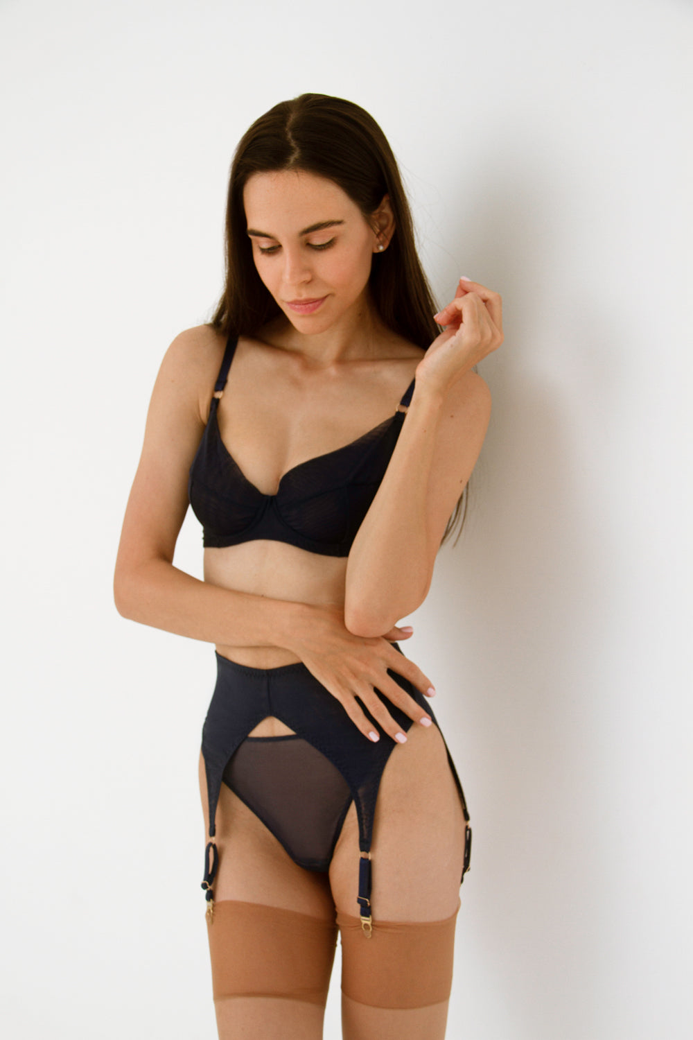 Diametra Navy garter belt