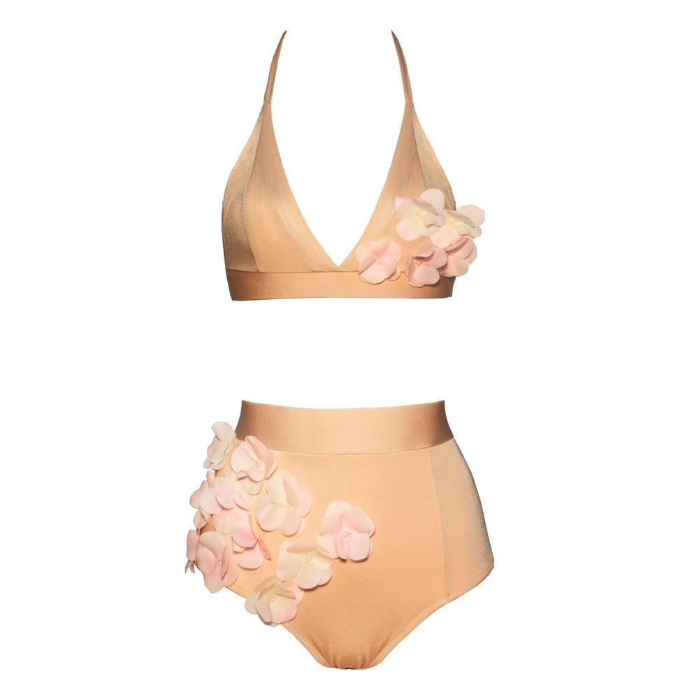 Designer bikini, exclusive, unusual, high waisted, pink, gold, golden, with flowers, ruched, with beads, Keosme, silicone flowers, adjustable waist, cutout on the back, wide belt, wide elastic band, underlines the waist, gentle, romantic, luxurious, original