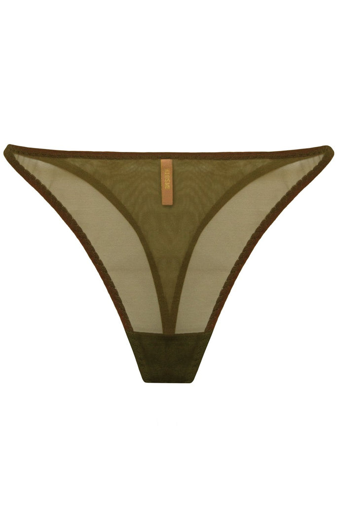 Constance Olive high-waisted thongs