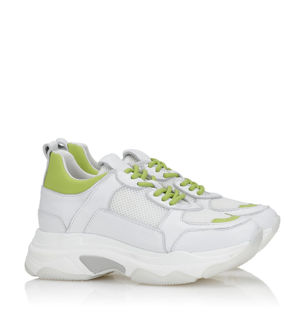 Shoe Biz Rad Lime Mix Sneaker White / Lime