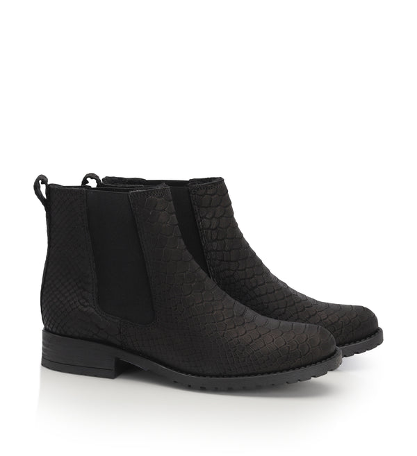 Shoe Biz Paige Croco Short Boot Black