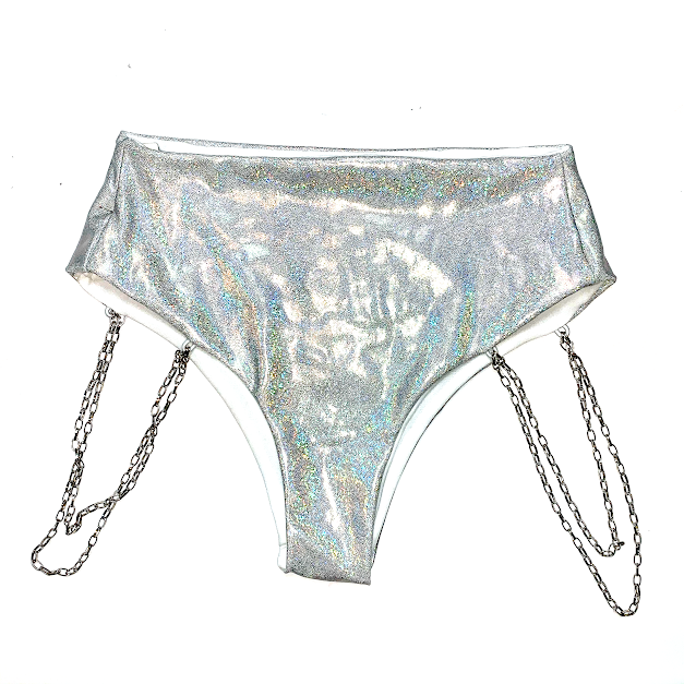 SPARKLE SILVER CHAINED HIGH WAISTED BOTTOMS
