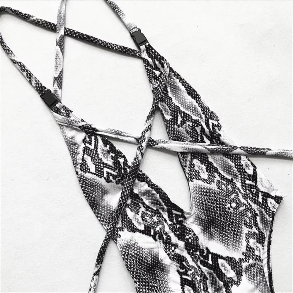 BLACK & WHITE SNAKE SKIN SWIMSUIT TEDDY