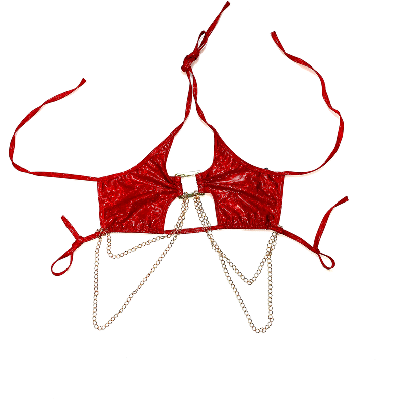 TIFFANY RED CHAINED CHEEKY BOTTOM SET