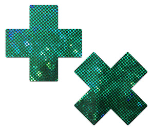 Plus X: Shattered Green Glass Disco Ball Glitter Cross Nipple Pasties