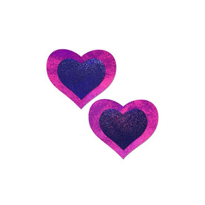 Pink And Purple Holographic Heart Pasties