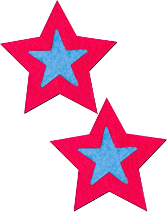 Hot Pink Stars with Turquoise Centers Nipple Pasties