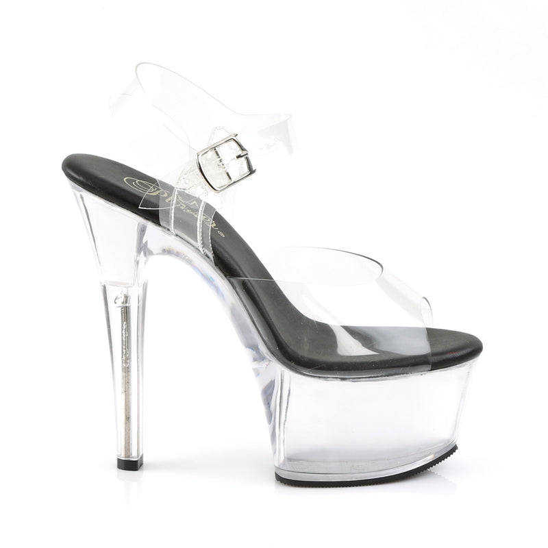 ASPIRE STRAPPED HEELS/ BLACK & CLEAR