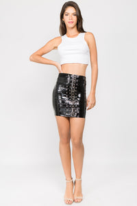 BUCKLE STRAP LEATHER HIGH WAIST SKIRT