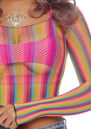 Rainbow Fishnet Crop Top