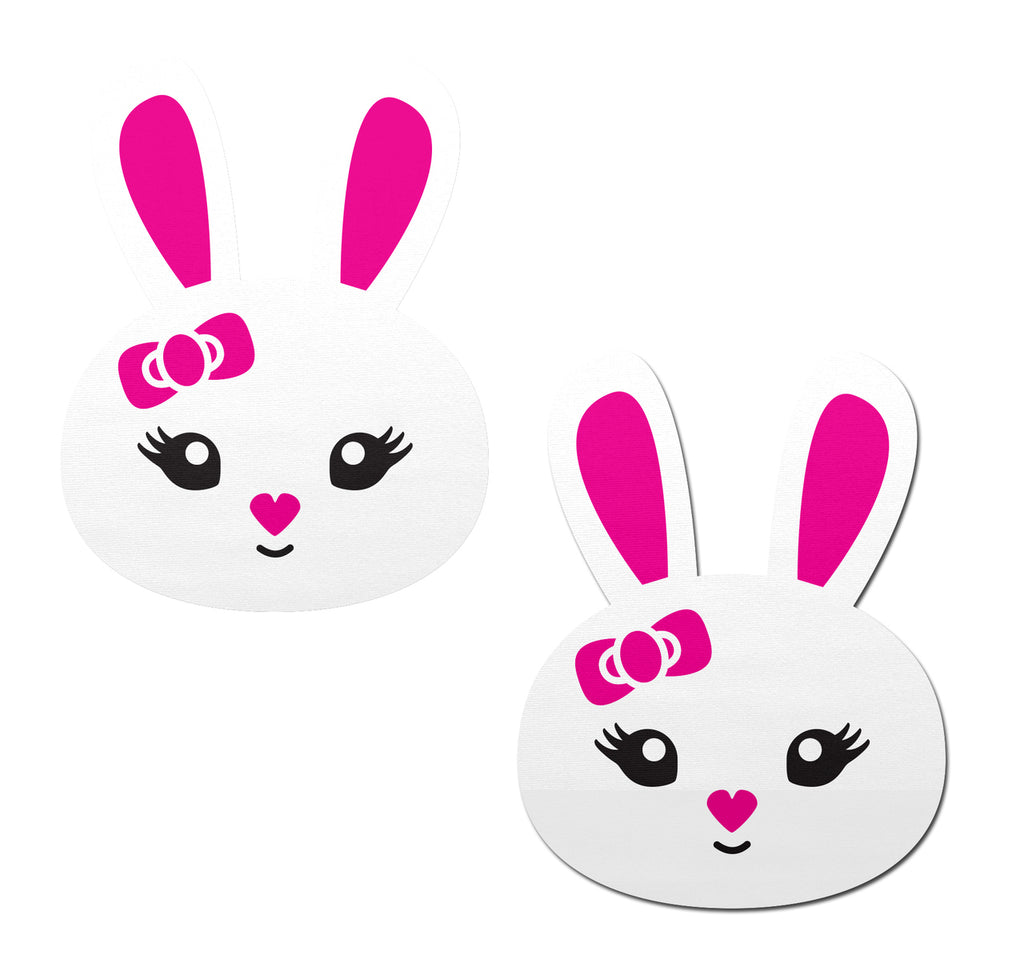 Bunny: Cute White Bunny with Pink Heart Nose, Ears, & Bow Nipple Pasties