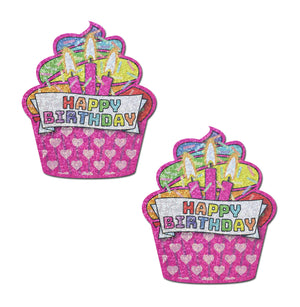 Cupcake: Pink & Multi-Color Glitter Happy Birthday Nipple Pasties