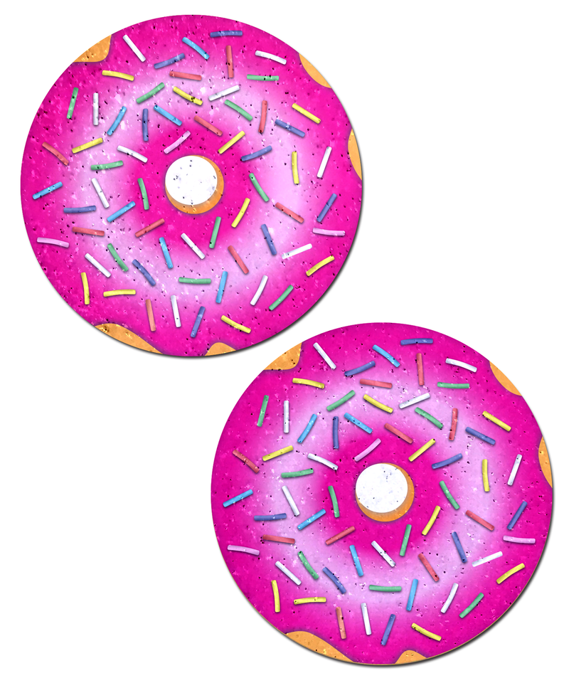 Donut with Pink Icing and Rainbow Sprinkles Nipple Pasties