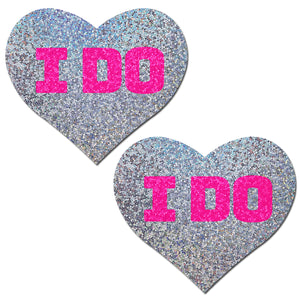 "Love: Bridal Silver Glitter Hearts with Pink ""I Do"" Nipple Pasties"