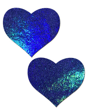 Love: Liquid Blue Spectrum Heart Nipple Pasties