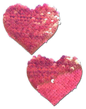 Love: Hot Pink & Matte Pink Color Changing Sequin Heart Nipple Pasties