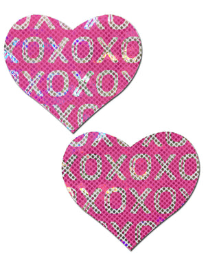 Love: Shattered Glass Disco Ball Pink with White XO Heart Nipple Pasties