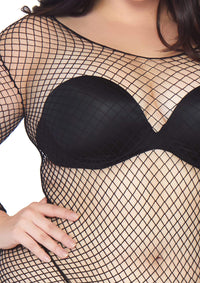 Long-Sleeved Fishnet Shirt Plus Sized