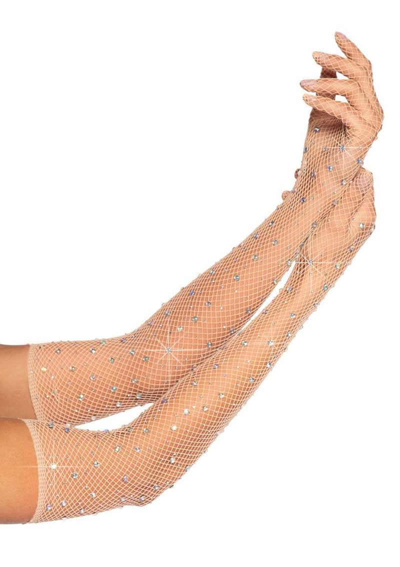 Rhinestone Fishnet Gloves