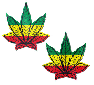 Indica Pot Leaf: Rasta Weed Nipple Pasties