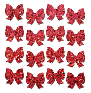 Body Minis: 16 Mini Red Glitter Bows Nipple & Body Pasties