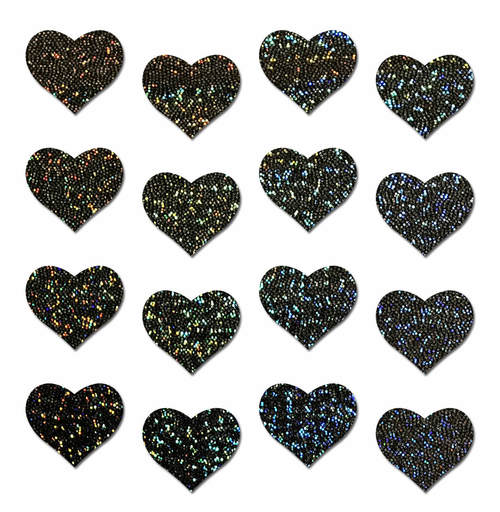 Body Minis: 16 Mini Black Glitter Hearts Nipple & Body Pasties