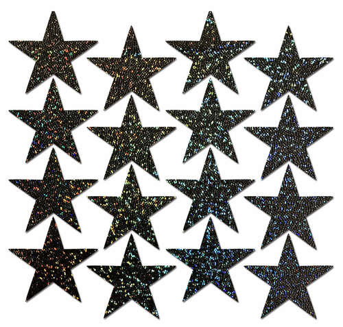 Body Minis: 16 Mini Black Glitter Stars Nipple & Body Pasties