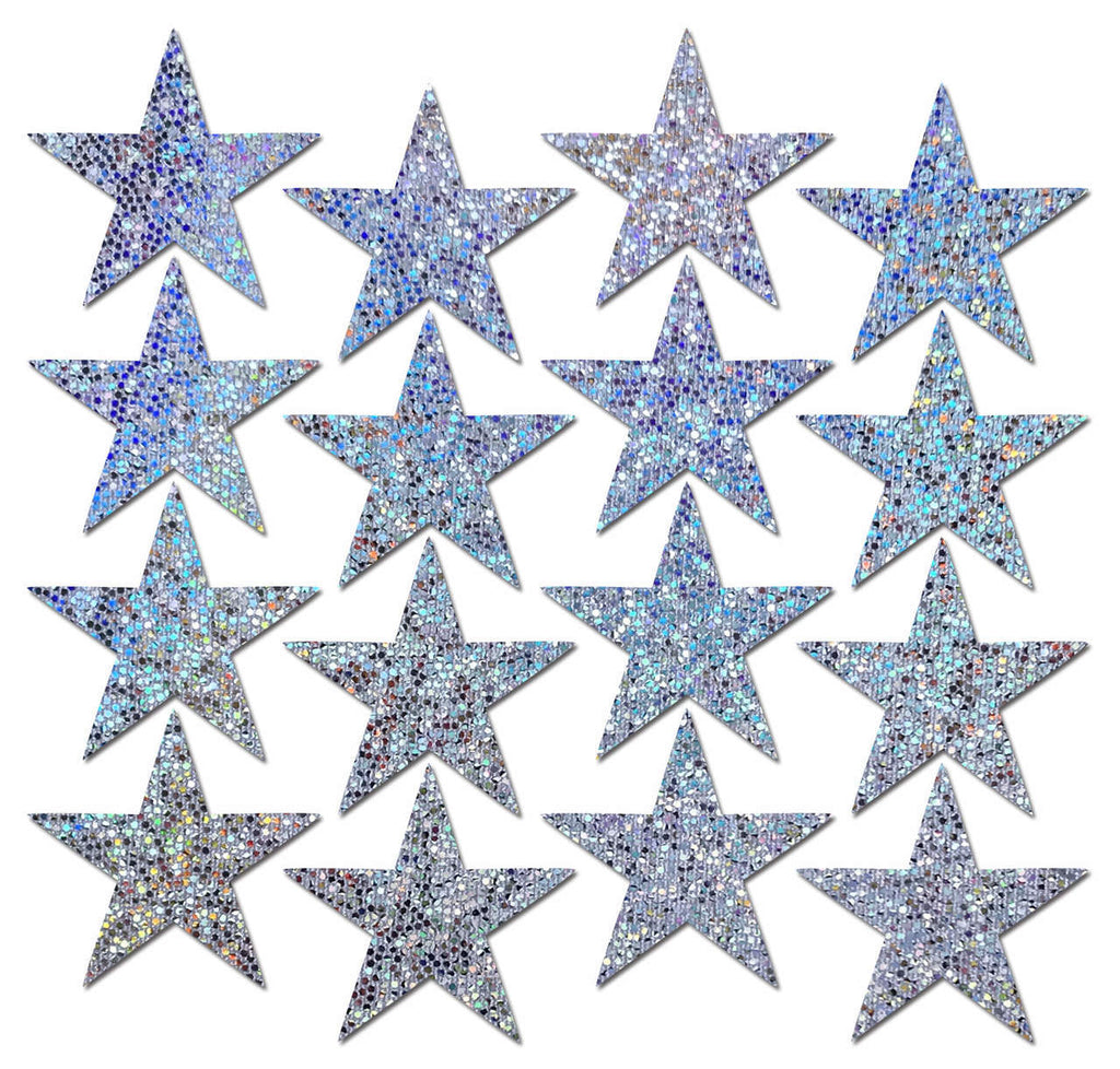 Body Minis: 16 Mini Silver Glitter Stars Nipple & Body Pasties