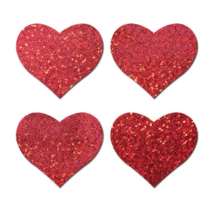 Petites: Two-Pair Small Red Glitter Hearts Nipple Pasties