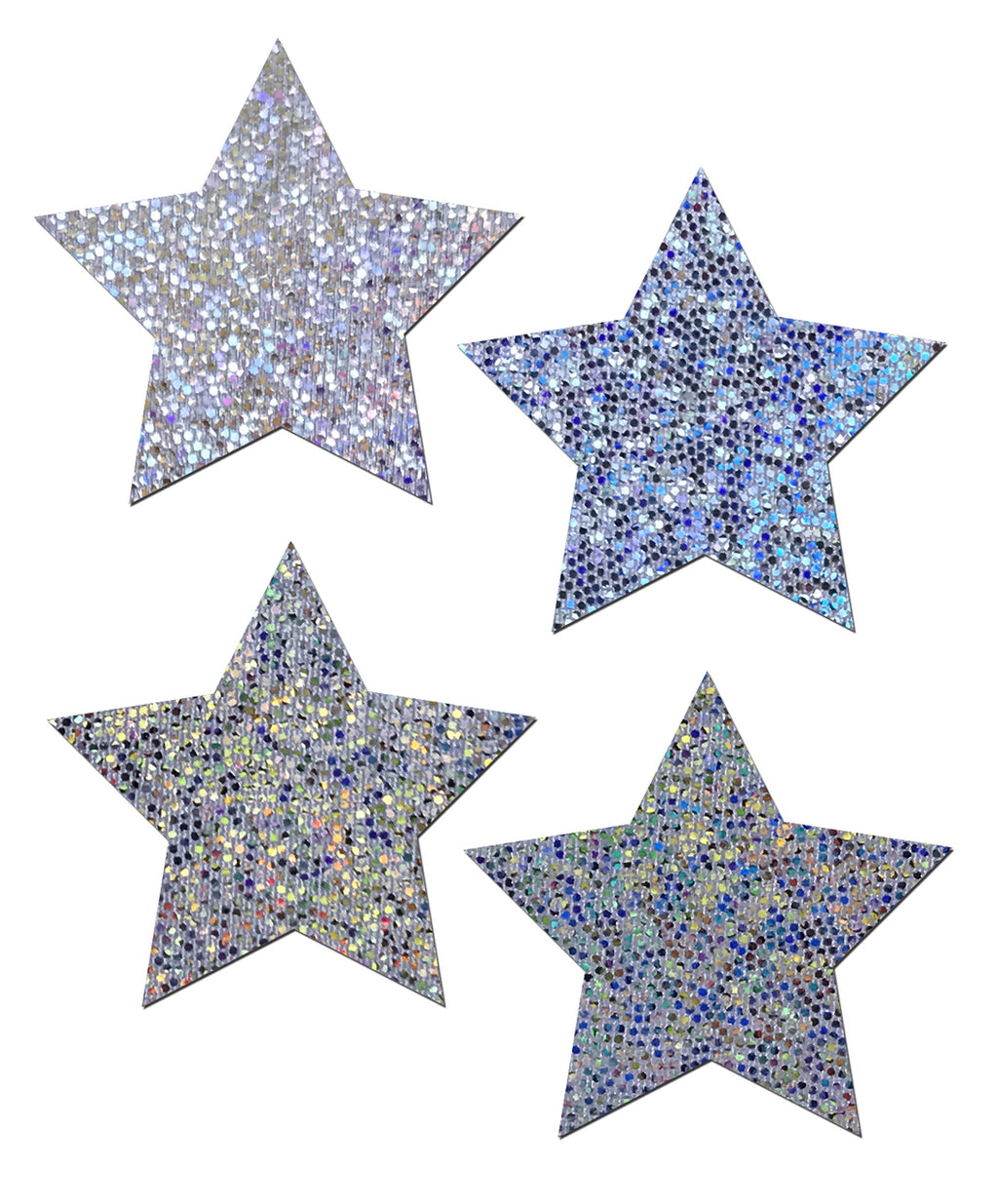 Petites: Two-Pair Small Silver Glitter Star Nipple Pasties