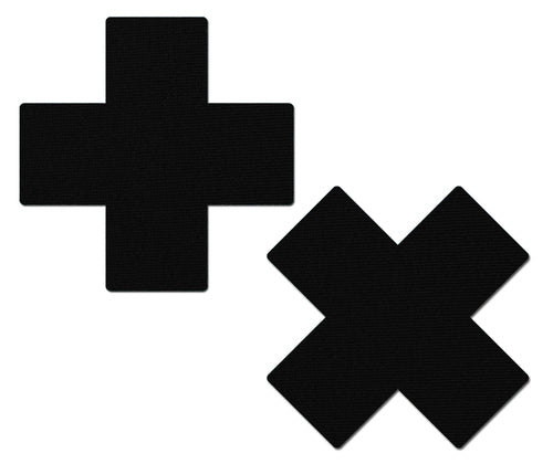 Plus X: Matte Black Cross Nipple Pasties
