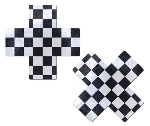 Plus X: Black & White Checker Cross Nipple Pasties
