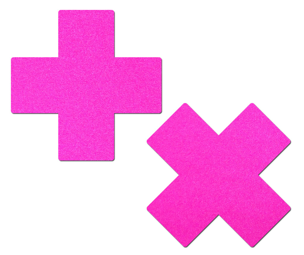 Plus X: Neon Pink Day-Glow Lycra Cross Nipple Pasties