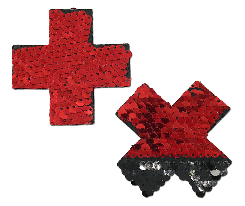 Plus X: Red & Black Pink Flip Sequin Cross Nipple Pasties