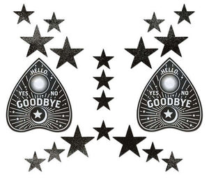 Pastease Set: Liquid Black Ouija Planchette with 6 Mini Stars and 10 Baby Stars Nipple & Body