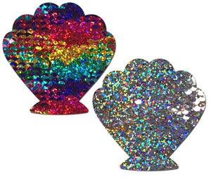 Mermaid: Rainbow & Silver Glitter Color Changing Sequin Seashell Nipple Pasties