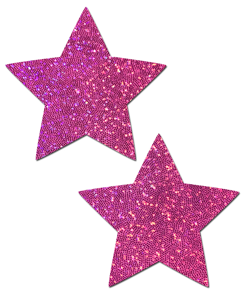 Star: Hot Pink Glittering Star Nipple Pasties