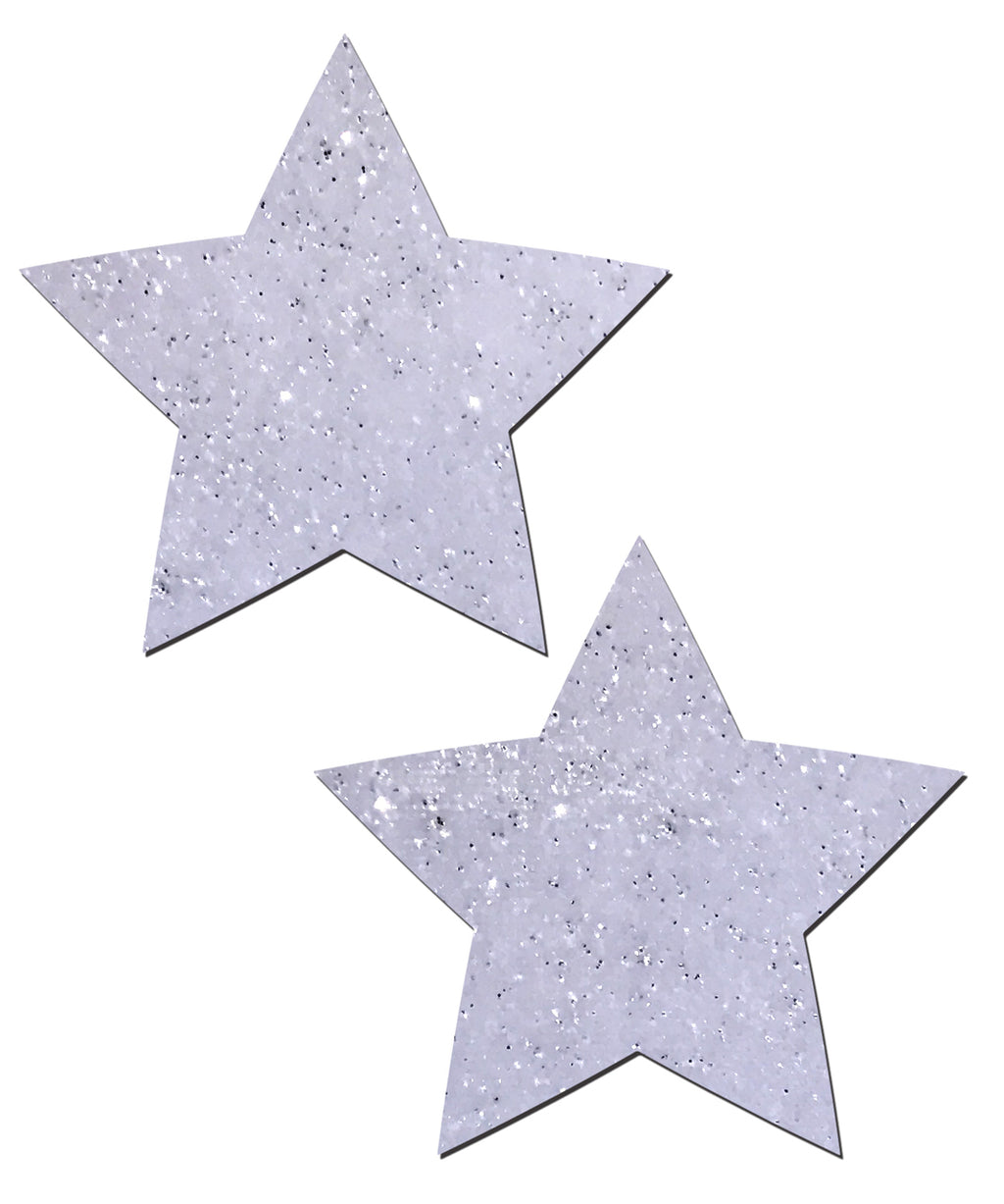 Star: White Glitter Velvet Star Nipple Pasties