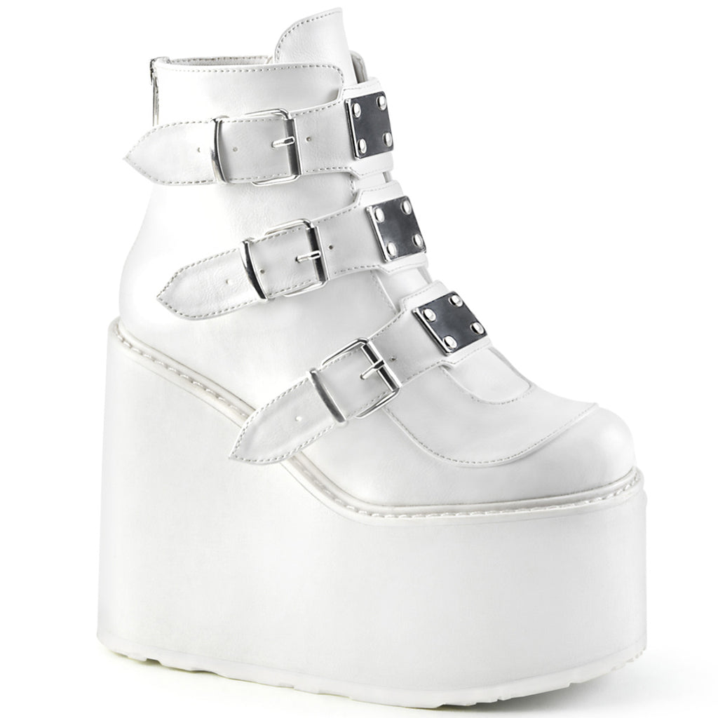RAVE NATION/ WHITE  ANKLE BOOTS
