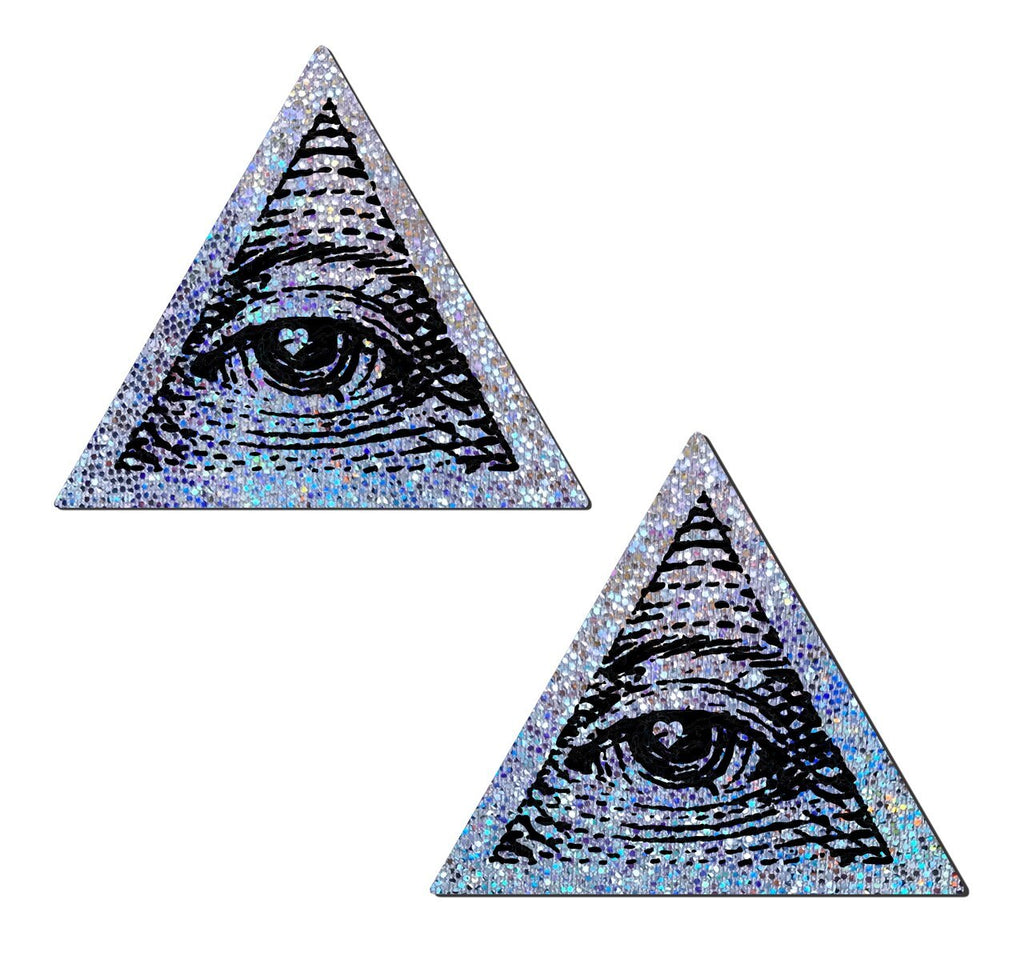 Silver Glitter Trippy Triangle with All Seeing Eye Nipple Pasties