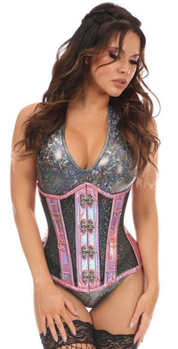 PINK HOLO FISHNET STEEL BONED UNDER BUST CORSET